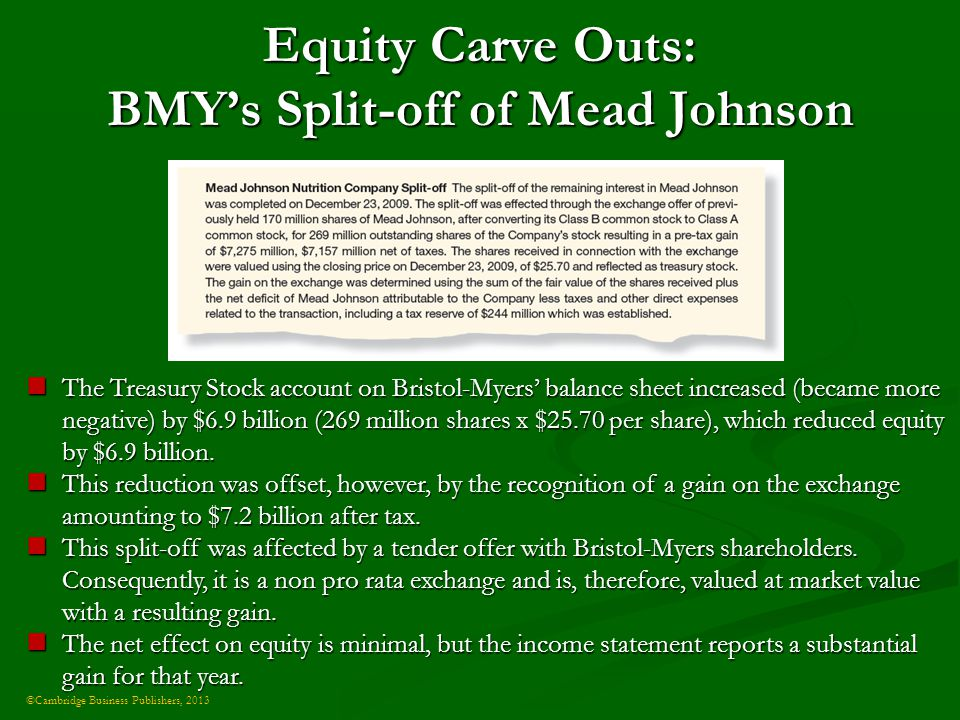 ©Cambridge Business Publishers, 2013 Equity Carve Outs: BMY's Split-off of Mead Johnson The Treasury Stock account on Bristol-Myers' balance sheet increased (became more negative) by $6.9 billion (269 million shares x $25.70 per share), which reduced equity by $6.9 billion.