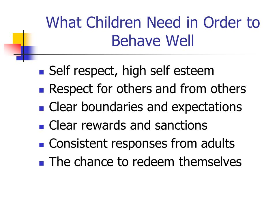 What Children Need in Order to Behave Well Self respect, high self esteem Respect for others and from others Clear boundaries and expectations Clear r