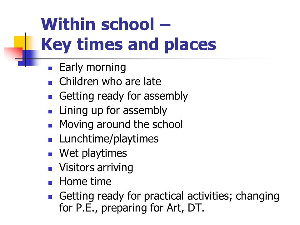 Within school – Key times and places Early morning Children who are late Getting ready for assembly Lining up for assembly Moving around the school Lu
