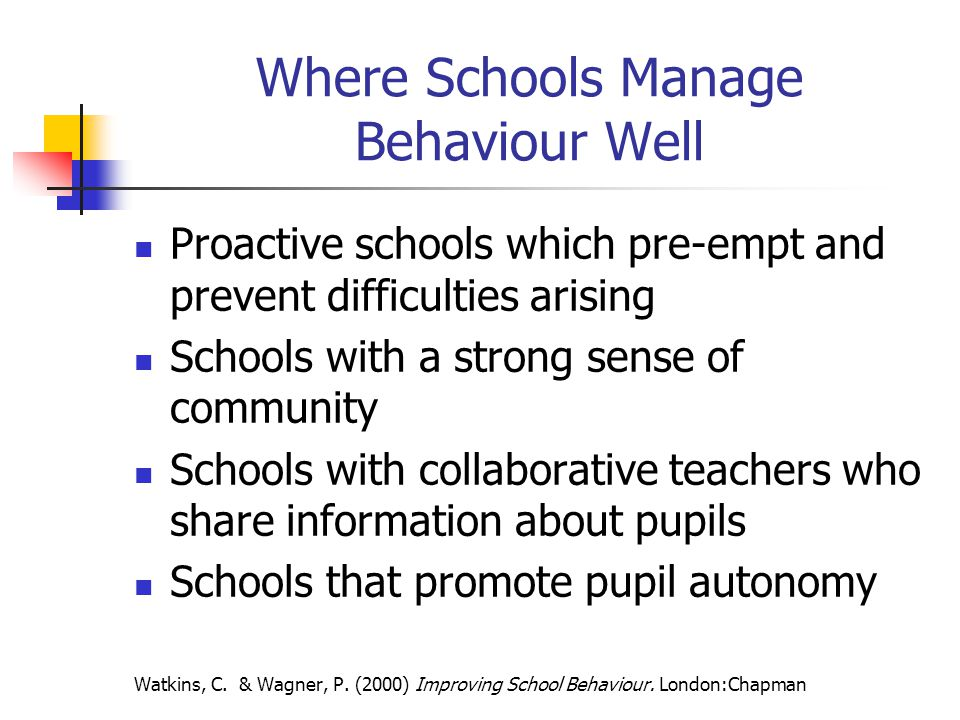 Where Schools Manage Behaviour Well Proactive schools which pre-empt and prevent difficulties arising Schools with a strong sense of community Schools