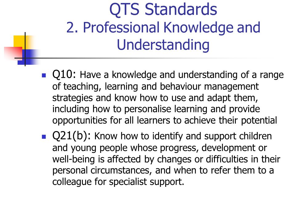 QTS Standards 2. Professional Knowledge and Understanding Q10: Have a knowledge and understanding of a range of teaching, learning and behaviour manag
