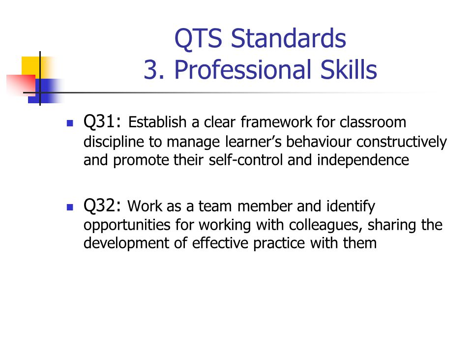 QTS Standards 3. Professional Skills Q31: Establish a clear framework for classroom discipline to manage learner's behaviour constructively and promot