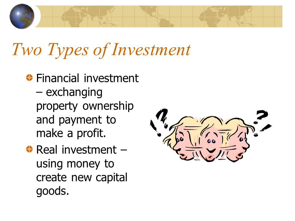 Types of Investment Retirement Plan (401k). - Employer offers a pension or a savings plan. IRA: Self-employed, you establish a program to save. Estate