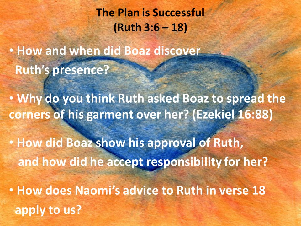 The Plan is Successful (Ruth 3:6 – 18) How and when did Boaz discover Ruth's presence? Why do you think Ruth asked Boaz to spread the corners of his g