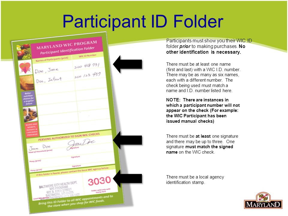 Participant ID Folder There must be at least one name (first and last) with a WIC I.D.