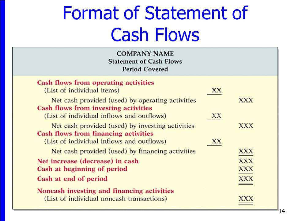 14 Format of Statement of Cash Flows