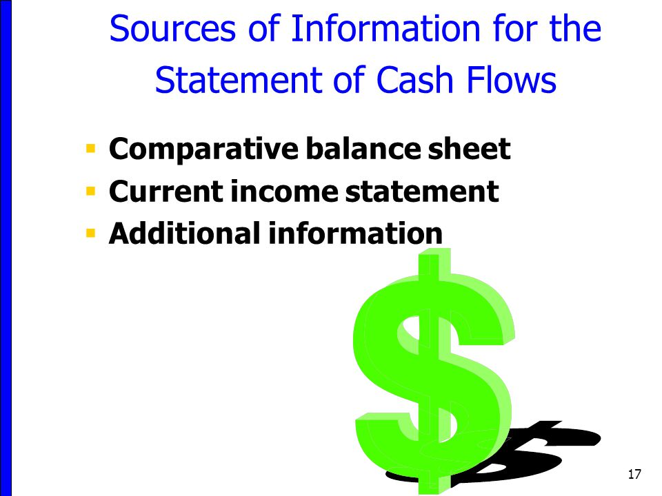 17 Sources of Information for the Statement of Cash Flows  Comparative balance sheet  Current income statement  Additional information