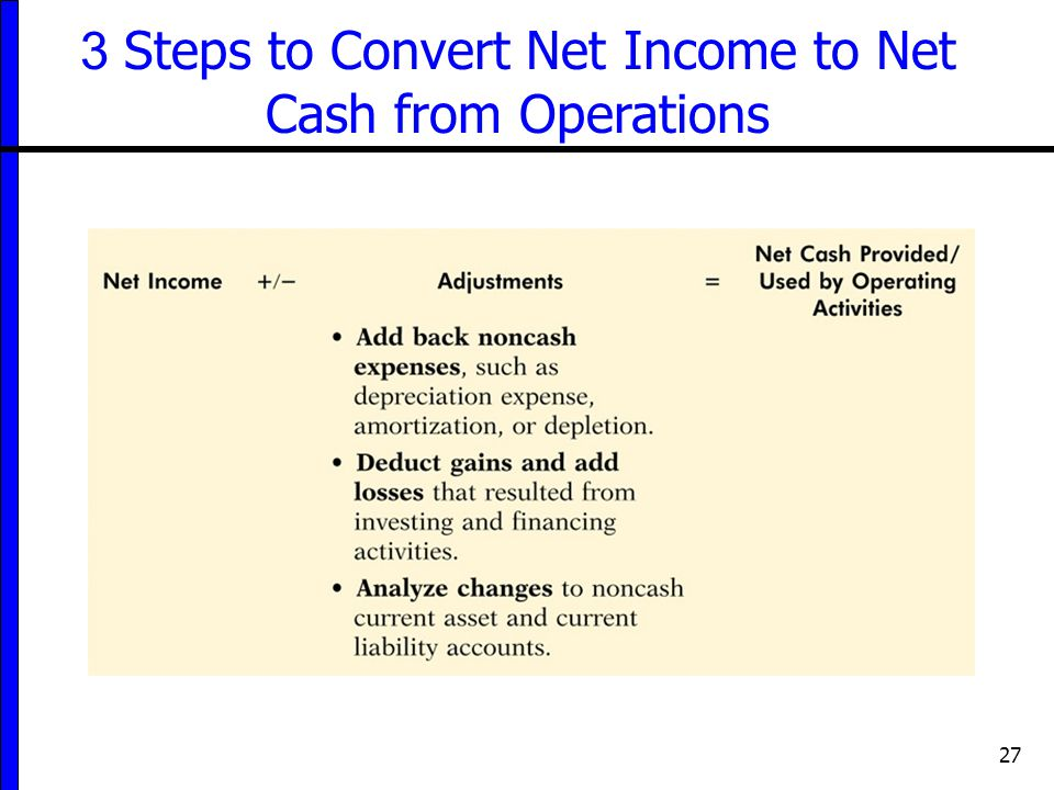 27 3 Steps to Convert Net Income to Net Cash from Operations