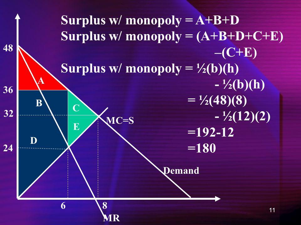 11 MC=S Demand MR 6 36 24 8 A B C D E Surplus w/ monopoly = A+B+D Surplus w/ monopoly = (A+B+D+C+E) –(C+E) Surplus w/ monopoly = ½(b)(h) - ½(b)(h) = ½(48)(8) - ½(12)(2) =192-12 =180 48 32
