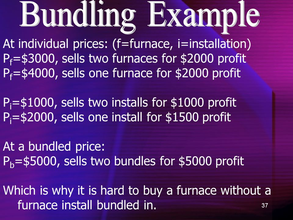 37 At individual prices: (f=furnace, i=installation) P f =$3000, sells two furnaces for $2000 profit P f =$4000, sells one furnace for $2000 profit P i =$1000, sells two installs for $1000 profit P i =$2000, sells one install for $1500 profit At a bundled price: P b =$5000, sells two bundles for $5000 profit Which is why it is hard to buy a furnace without a furnace install bundled in.