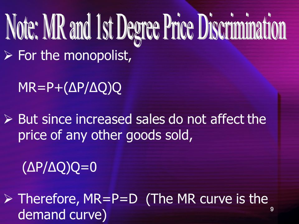 9  For the monopolist, MR=P+(ΔP/ΔQ)Q  But since increased sales do not affect the price of any other goods sold, (ΔP/ΔQ)Q=0  Therefore, MR=P=D (The MR curve is the demand curve)