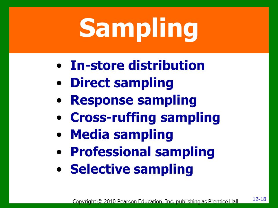 In-store distribution Direct sampling Response sampling Cross-ruffing sampling Media sampling Professional sampling Selective sampling Copyright © 201