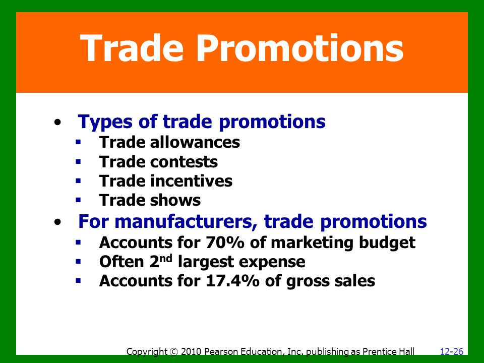 Trade Promotions Types of trade promotions  Trade allowances  Trade contests  Trade incentives  Trade shows For manufacturers, trade promotions  Accounts for 70% of marketing budget  Often 2 nd largest expense  Accounts for 17.4% of gross sales Copyright © 2010 Pearson Education, Inc.