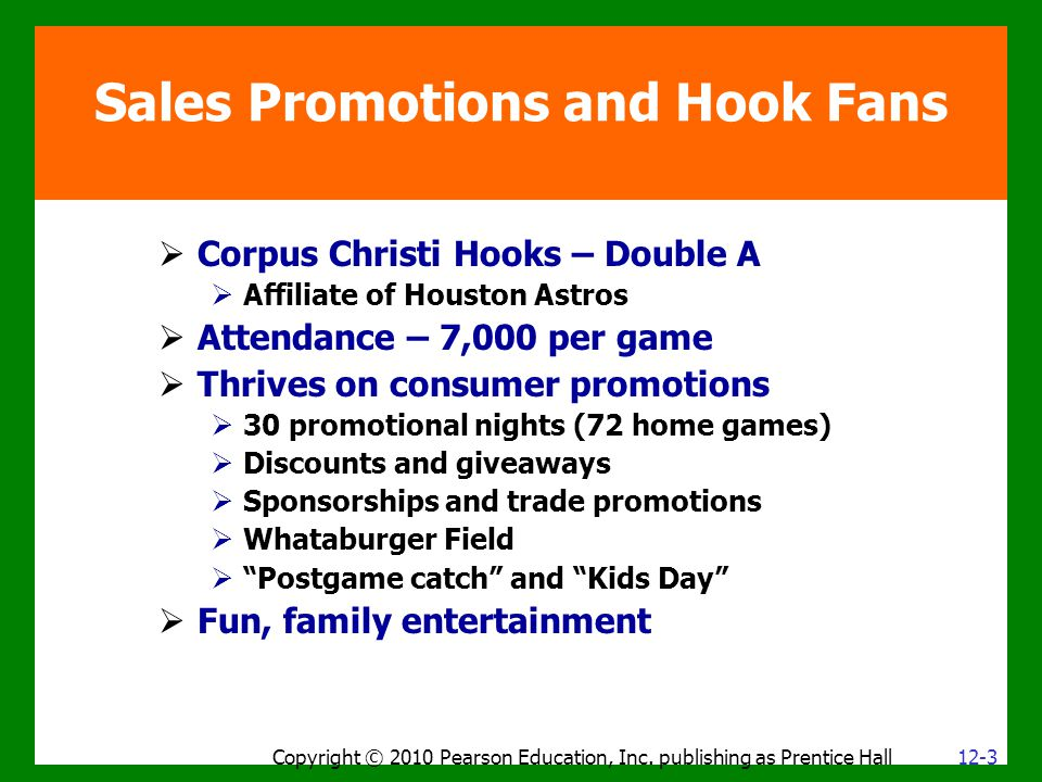 Sales Promotions and Hook Fans Copyright © 2010 Pearson Education, Inc. publishing as Prentice Hall  Corpus Christi Hooks – Double A  Affiliate of H