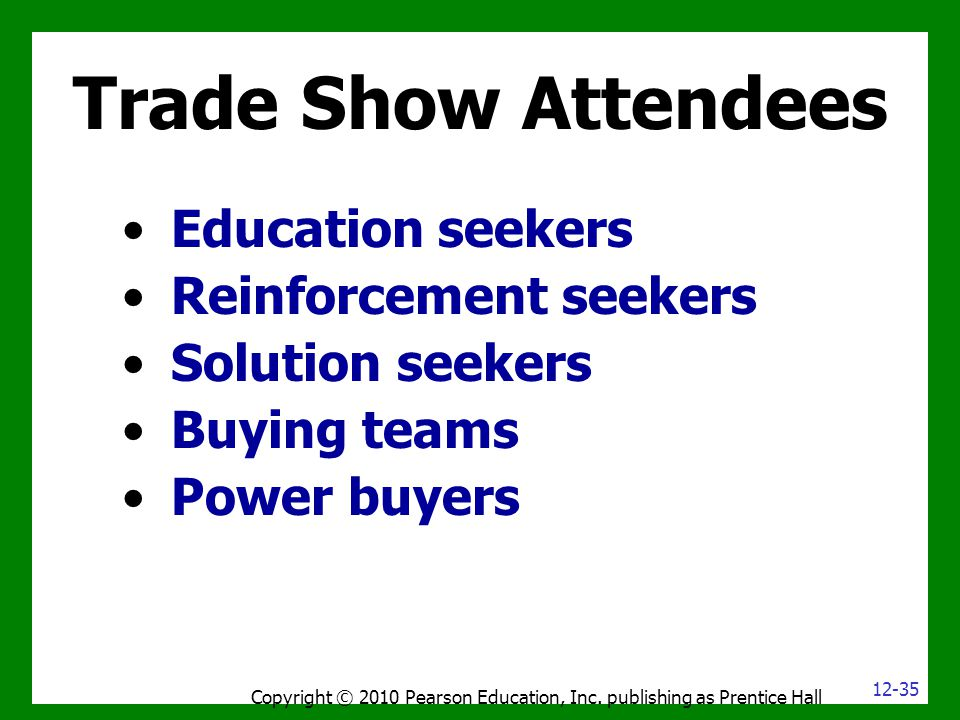 Trade Show Attendees Education seekers Reinforcement seekers Solution seekers Buying teams Power buyers Copyright © 2010 Pearson Education, Inc. publi