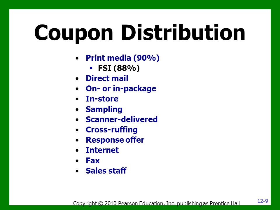 Coupon Distribution Copyright © 2010 Pearson Education, Inc. publishing as Prentice Hall Print media (90%)  FSI (88%) Direct mail On- or in-package I