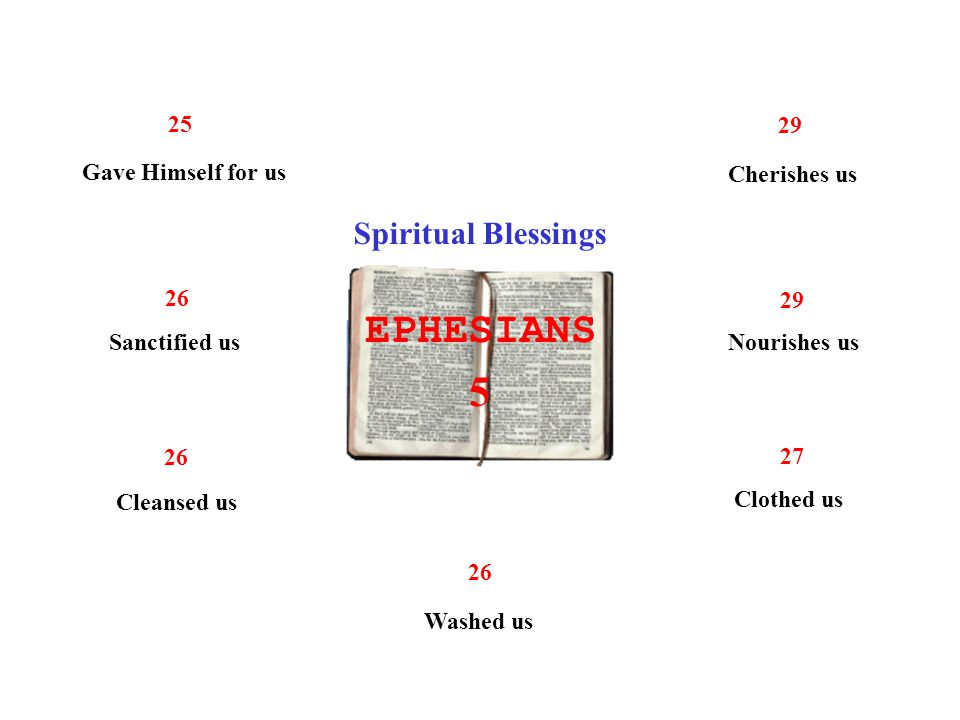 EPHESIANS 5 Spiritual Blessings 25 Gave Himself for us 26 Sanctified us 26 Cleansed us 26 Washed us 27 Clothed us 29 Nourishes us 29 Cherishes us