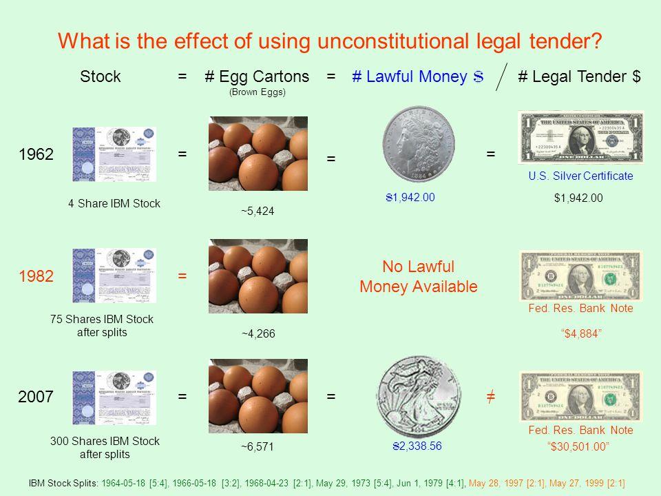 Stock= # Lawful Money $ $ 1,942.00 = =# Egg Cartons (Brown Eggs) = ~5,424 # Legal Tender $ $1,942.00 = U.S.