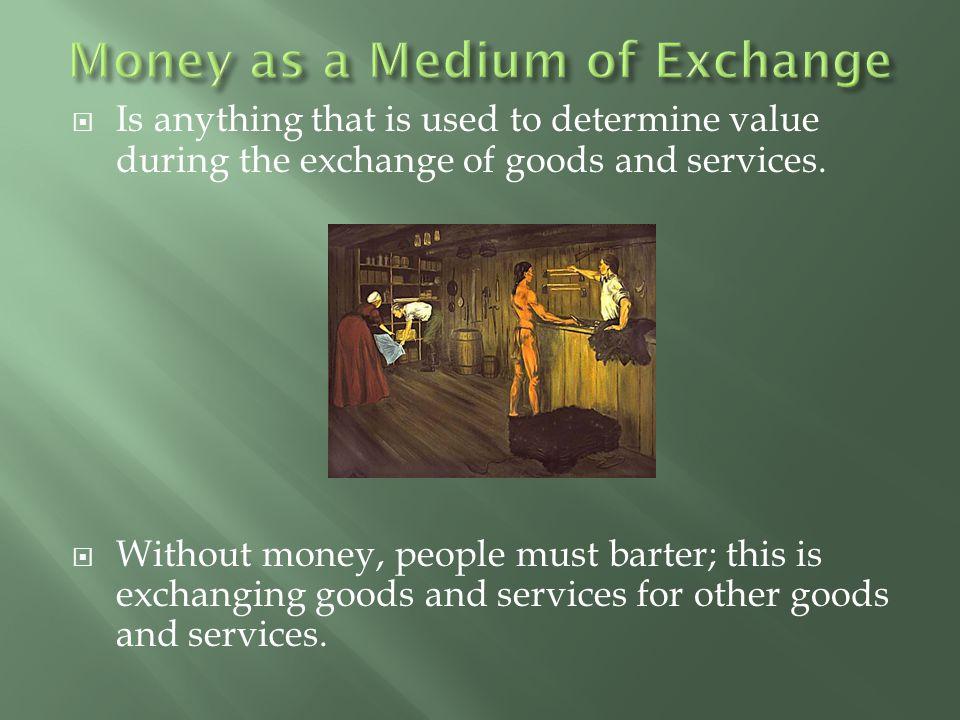 1. Commodity Money 2. Representative Money 3. Fiat Money