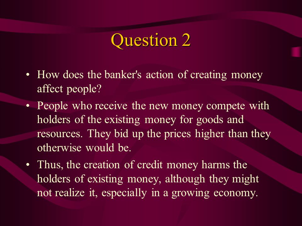 Question 1 Why does the warehouse manager issue credit money (and, therefore, become a banker).
