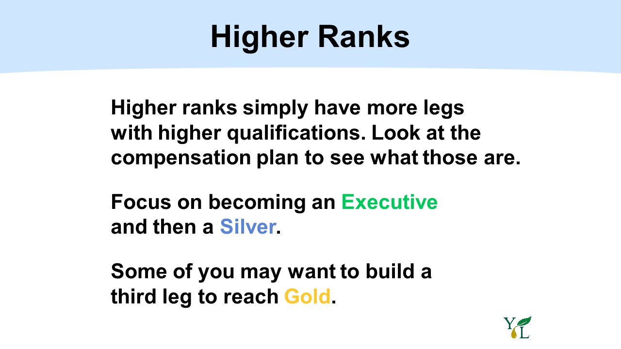Higher Ranks Higher ranks simply have more legs with higher qualifications. Look at the compensation plan to see what those are. Focus on becoming an