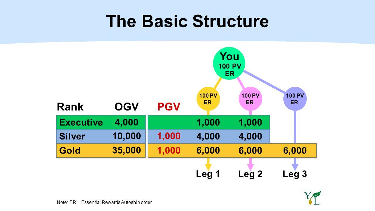 RankOGV Executive1,000 4,000 Silver4,000 10,000 Gold 6,000 35,000 Leg 1 Leg 2Leg 3 100 PV ER PGV 1,000 100 PV ER 100 PV ER The Basic Structure 1,000 Y