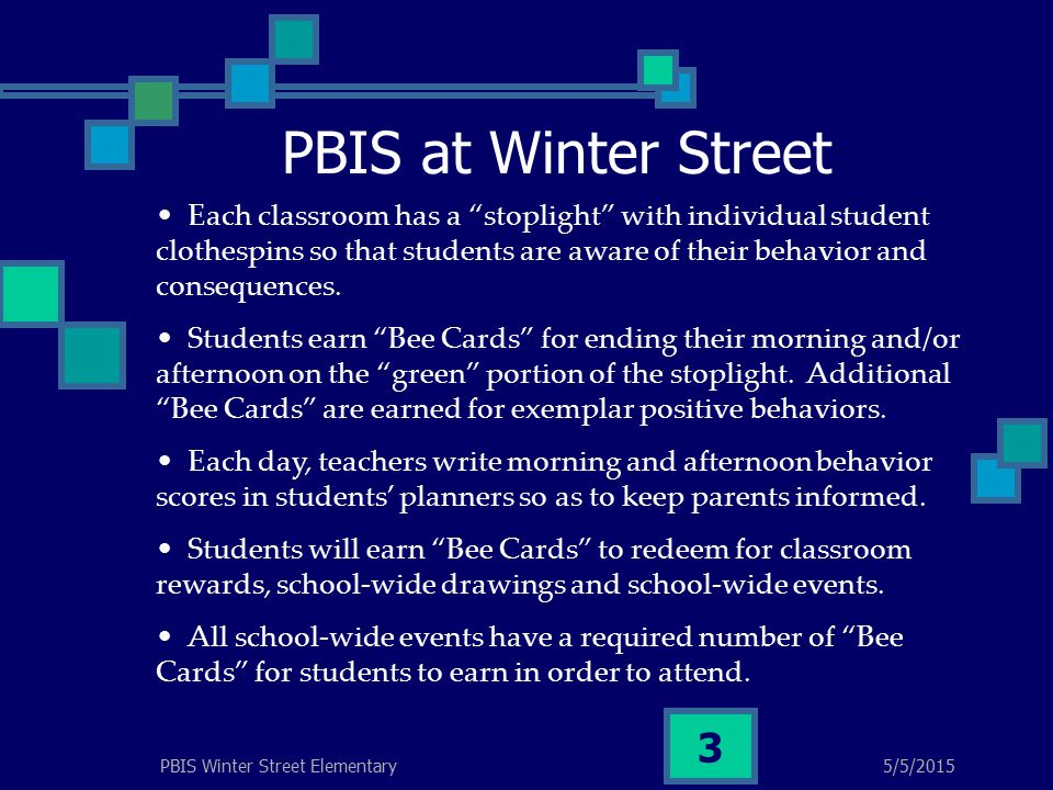 PBIS at Winter Street 5/5/2015PBIS Winter Street Elementary 3 Each classroom has a stoplight with individual student clothespins so that students are aware of their behavior and consequences.