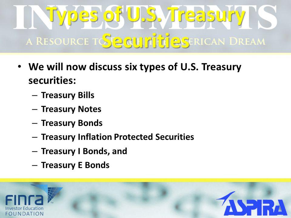 Types of U.S. Treasury Securities We will now discuss six types of U.S. Treasury securities: – Treasury Bills – Treasury Notes – Treasury Bonds – Trea