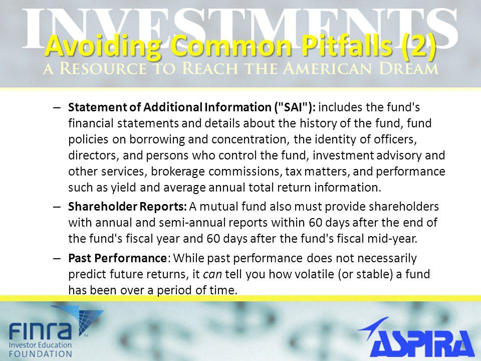 Avoiding Common Pitfalls (2) – Statement of Additional Information (