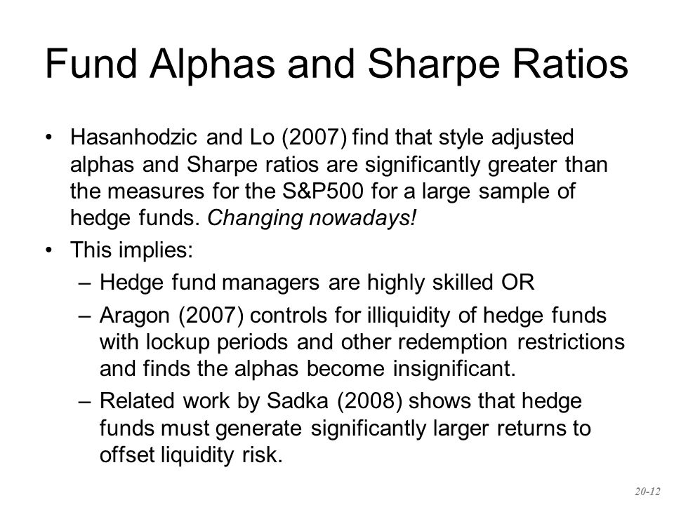 Fund Alphas and Sharpe Ratios Hasanhodzic and Lo (2007) find that style adjusted alphas and Sharpe ratios are significantly greater than the measures for the S&P500 for a large sample of hedge funds.