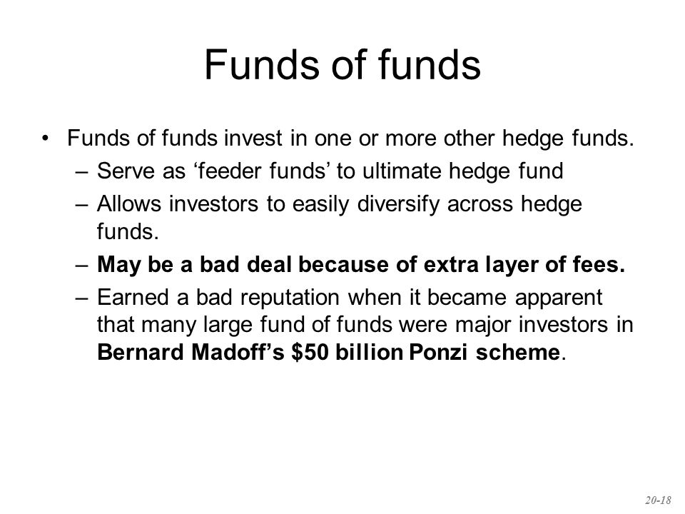 Funds of funds Funds of funds invest in one or more other hedge funds.