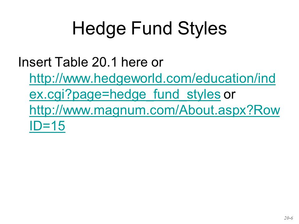 Hedge Fund Styles Insert Table 20.1 here or http://www.hedgeworld.com/education/ind ex.cgi page=hedge_fund_styles or http://www.magnum.com/About.aspx Row ID=15 http://www.hedgeworld.com/education/ind ex.cgi page=hedge_fund_styles http://www.magnum.com/About.aspx Row ID=15 20-6