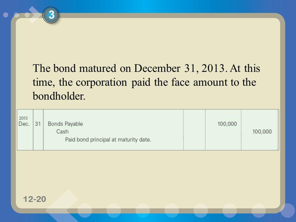 11-2012-20 The bond matured on December 31, 2013.