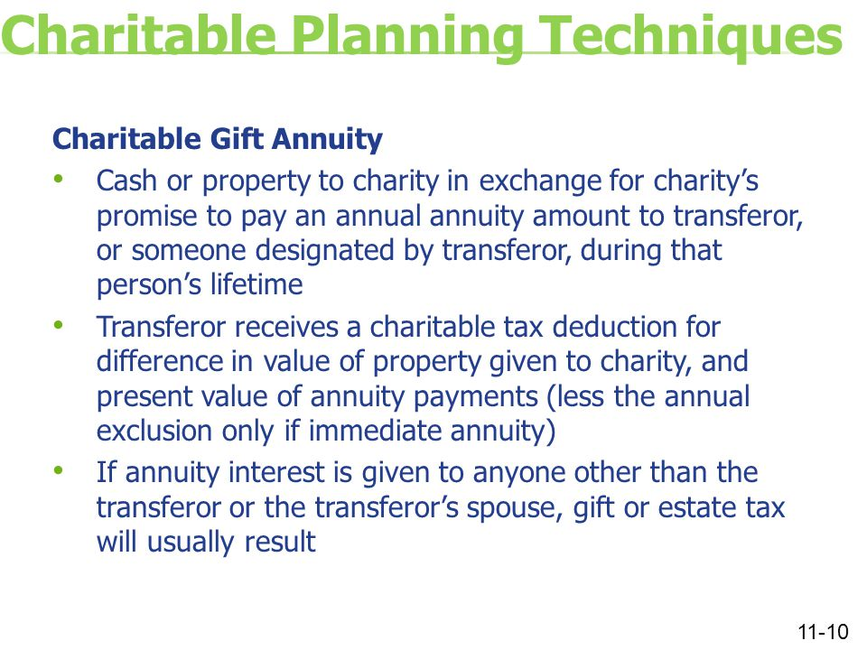 Charitable Planning Techniques Charitable Gift Annuity Cash or property to charity in exchange for charity's promise to pay an annual annuity amount to transferor, or someone designated by transferor, during that person's lifetime Transferor receives a charitable tax deduction for difference in value of property given to charity, and present value of annuity payments (less the annual exclusion only if immediate annuity) If annuity interest is given to anyone other than the transferor or the transferor's spouse, gift or estate tax will usually result 11-10