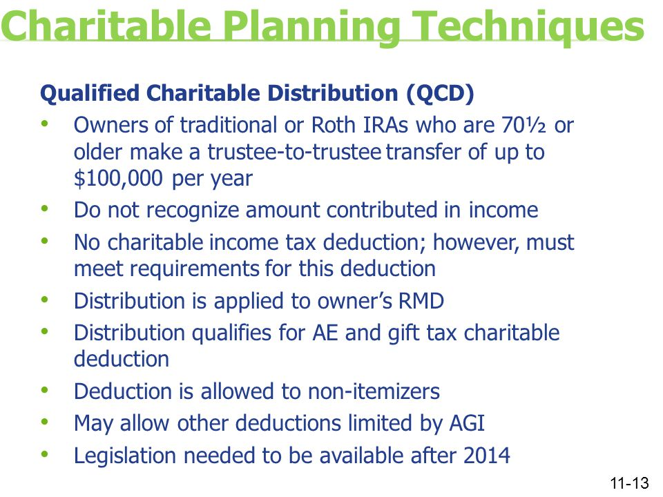Charitable Planning Techniques Qualified Charitable Distribution (QCD) Owners of traditional or Roth IRAs who are 70½ or older make a trustee-to-trustee transfer of up to $100,000 per year Do not recognize amount contributed in income No charitable income tax deduction; however, must meet requirements for this deduction Distribution is applied to owner's RMD Distribution qualifies for AE and gift tax charitable deduction Deduction is allowed to non-itemizers May allow other deductions limited by AGI Legislation needed to be available after 2014 11-13