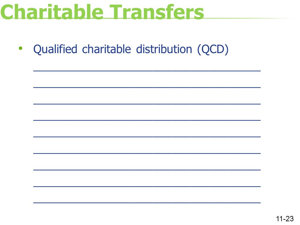 Charitable Transfers Qualified charitable distribution (QCD) ____________________________________ 11-23