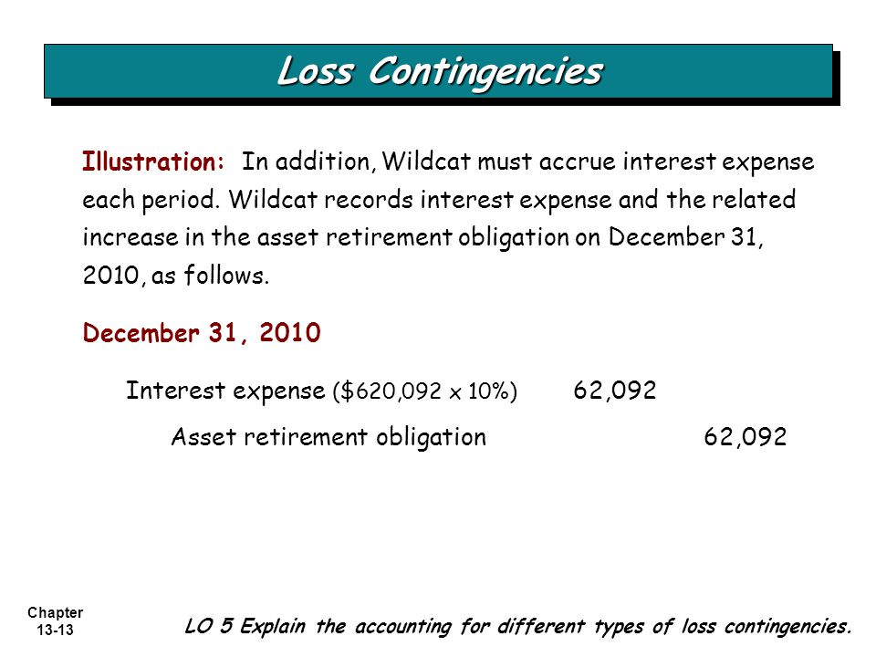 Chapter 13-13 Loss Contingencies LO 5 Explain the accounting for different types of loss contingencies. Illustration: In addition, Wildcat must accrue