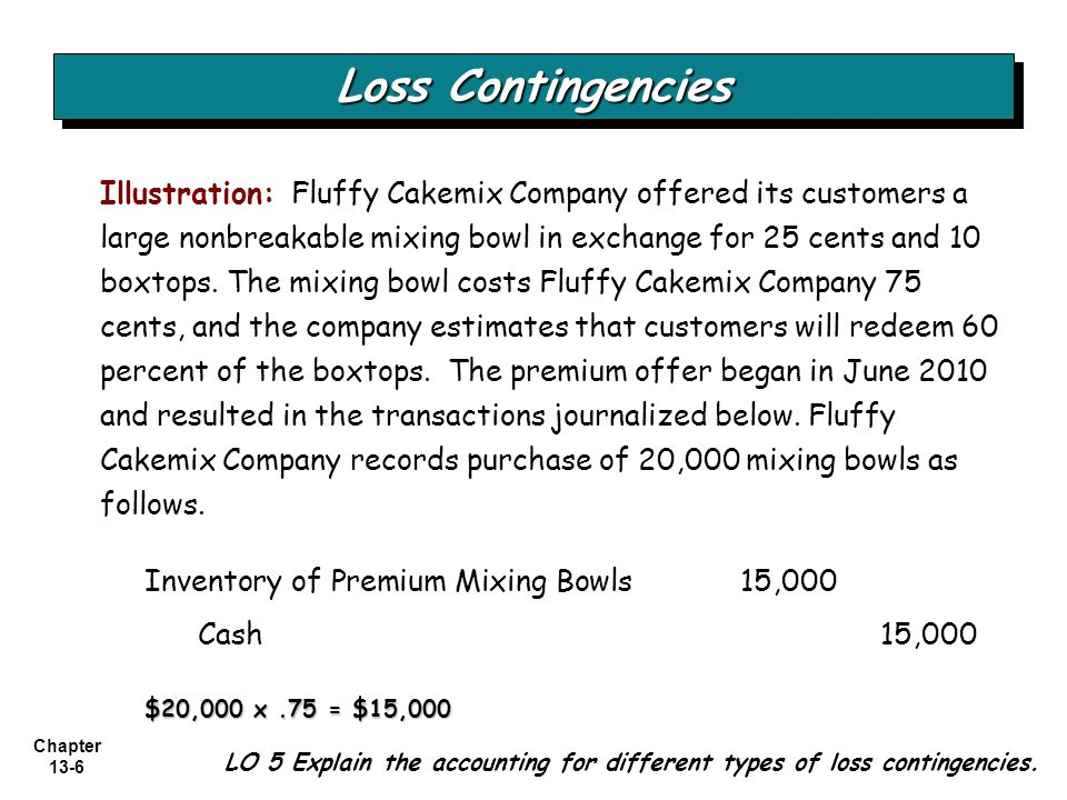 Chapter 13-7 Loss Contingencies LO 5 Illustration: The entry to record sales of 300,000 boxes of cake mix would be: Cash 240,000 Sales240,000 300,000 x.80 = $240,000 Fluffy records the actual redemption of 60,000 boxtops, the receipt of 25 cents per 10 boxtops, and the delivery of the mixing bowls as follows.