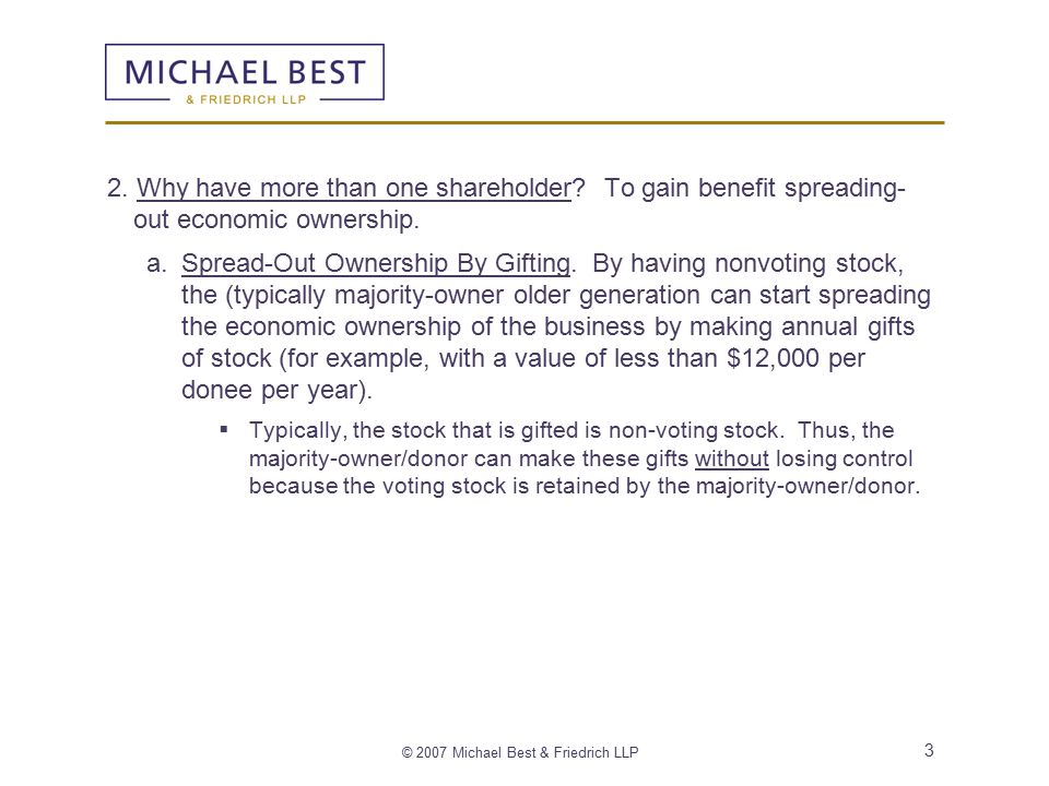 © 2007 Michael Best & Friedrich LLP 3 2. Why have more than one shareholder.