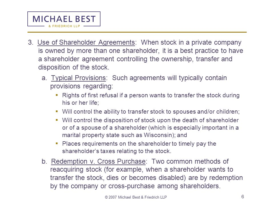 © 2007 Michael Best & Friedrich LLP 6 3. Use of Shareholder Agreements: When stock in a private company is owned by more than one shareholder, it is a