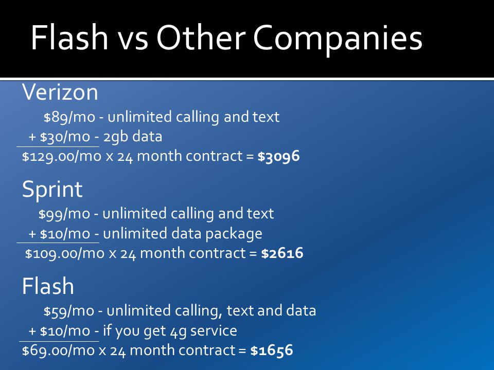 Flash vs Other Companies Verizon $89/mo - unlimited calling and text + $30/mo - 2gb data $129.00/mo x 24 month contract = $3096 Sprint $99/mo - unlimited calling and text + $10/mo - unlimited data package $109.00/mo x 24 month contract = $2616 Flash $59/mo - unlimited calling, text and data + $10/mo - if you get 4g service $69.00/mo x 24 month contract = $1656