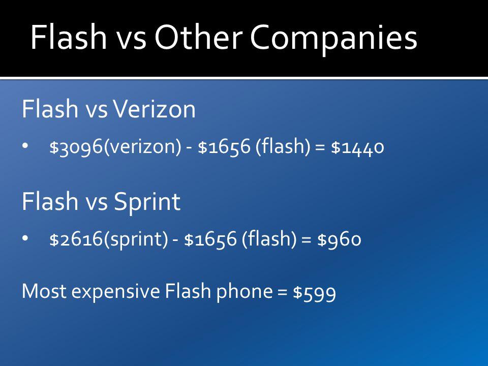 Flash vs Other Companies Flash vs Verizon $3096(verizon) - $1656 (flash) = $1440 Flash vs Sprint $2616(sprint) - $1656 (flash) = $960 Most expensive Flash phone = $599