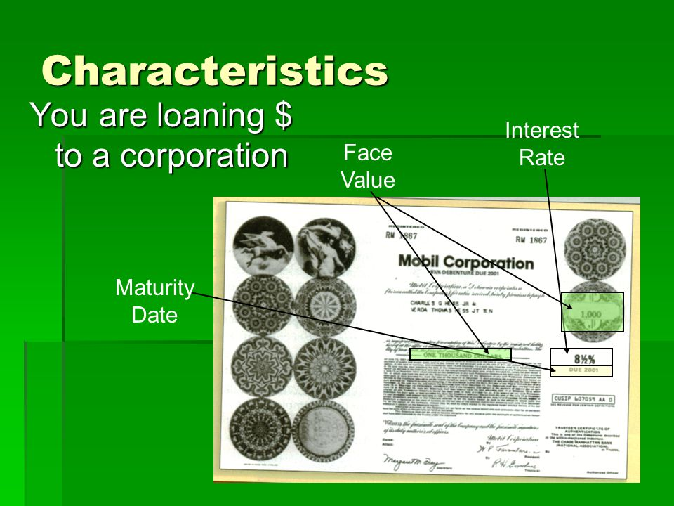 Characteristics You are loaning $ to a corporation Interest Rate Maturity Date Face Value