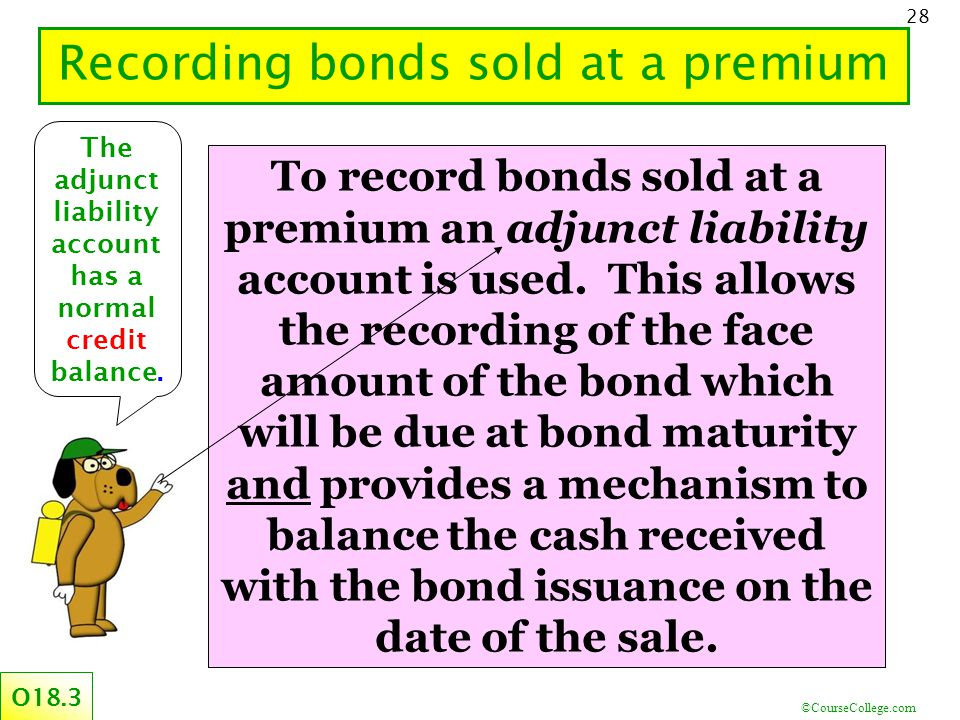 ©CourseCollege.com 28 Recording bonds sold at a premium O18.3 To record bonds sold at a premium an adjunct liability account is used.