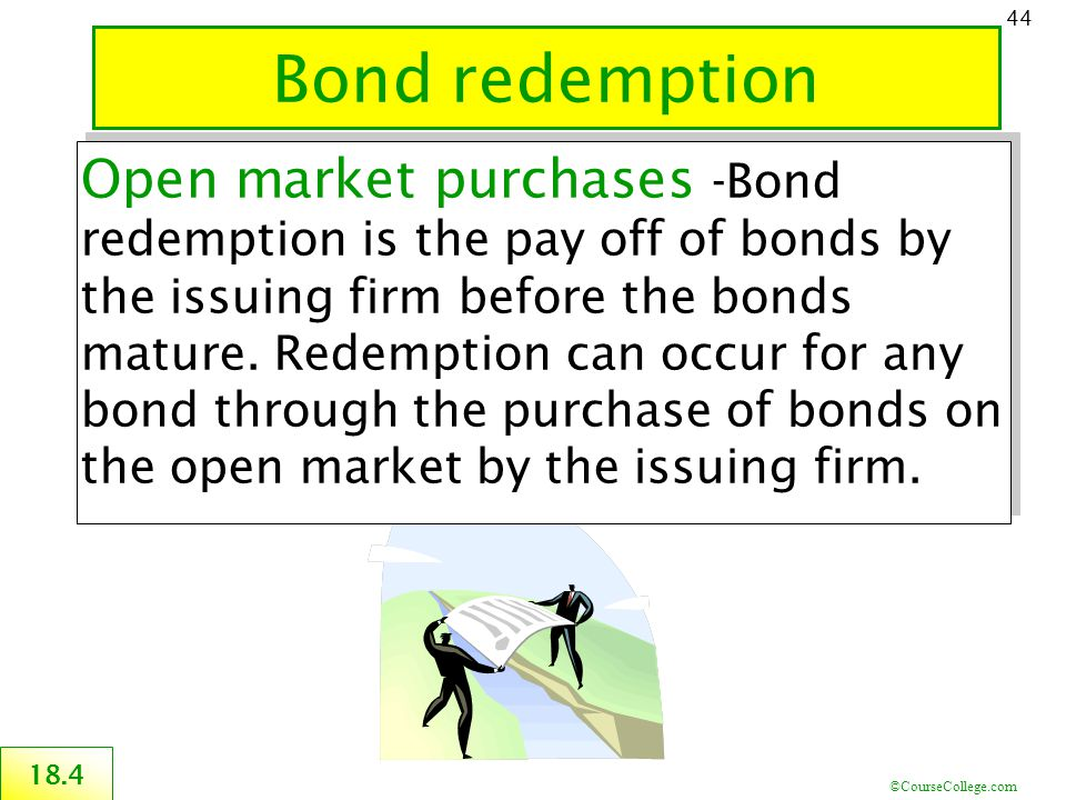 ©CourseCollege.com 44 Bond redemption 18.4 Open market purchases -Bond redemption is the pay off of bonds by the issuing firm before the bonds mature.
