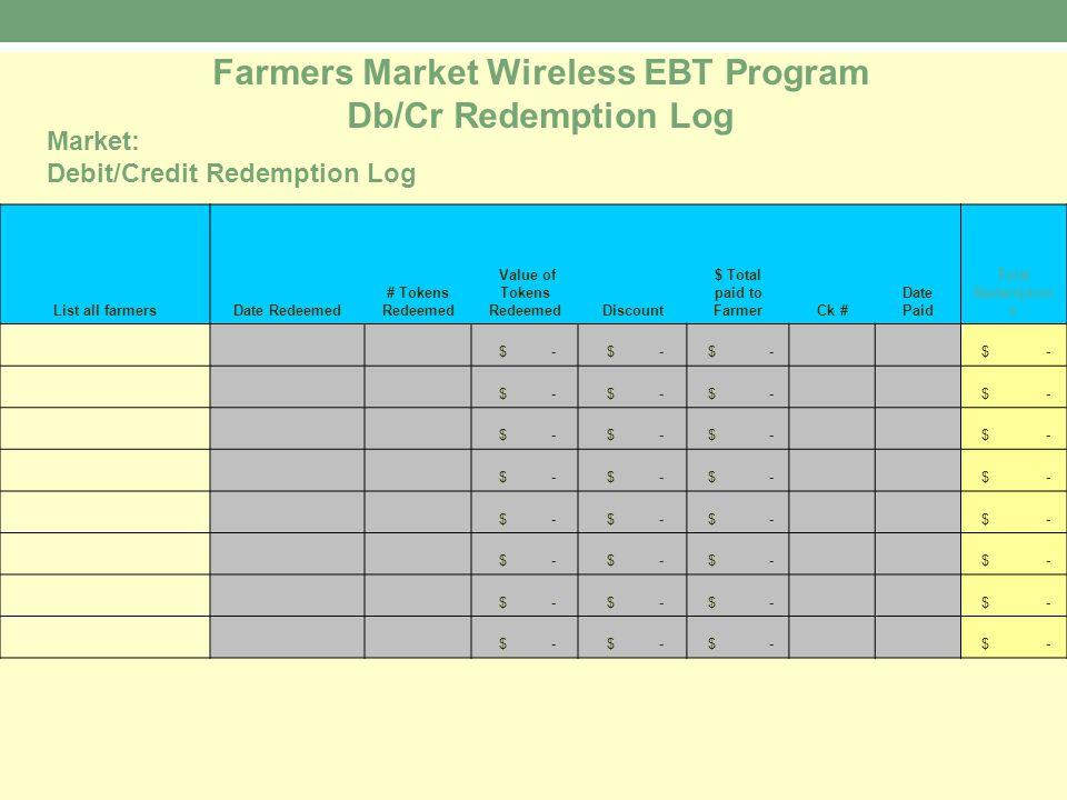 Farmers Market Wireless EBT Program Db/Cr Redemption Log List all farmersDate Redeemed # Tokens Redeemed Value of Tokens RedeemedDiscount $ Total paid to FarmerCk # Date Paid Total Redemption s $ - Market: Debit/Credit Redemption Log