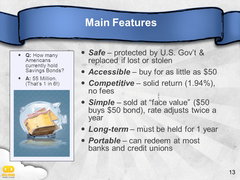 13 Main Features Safe – protected by U.S. Gov't & replaced if lost or stolen Accessible – buy for as little as $50 Competitive – solid return (1.94%),