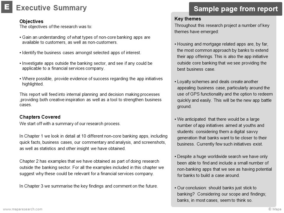 © Mapawww.maparesearch.com Objectives The objectives of the research was to: Gain an understanding of what types of non-core banking apps are availabl