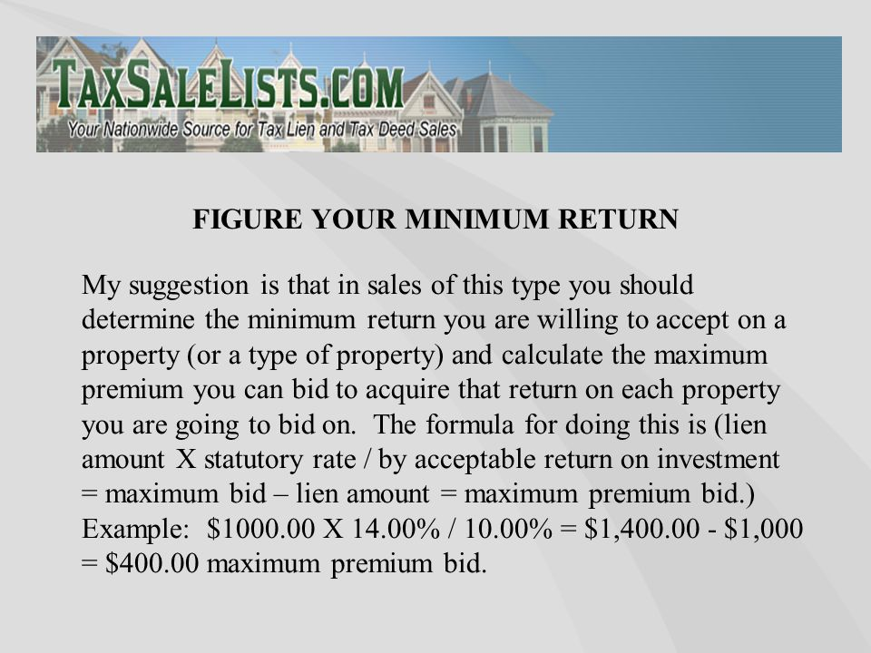 My suggestion is that in sales of this type you should determine the minimum return you are willing to accept on a property (or a type of property) an