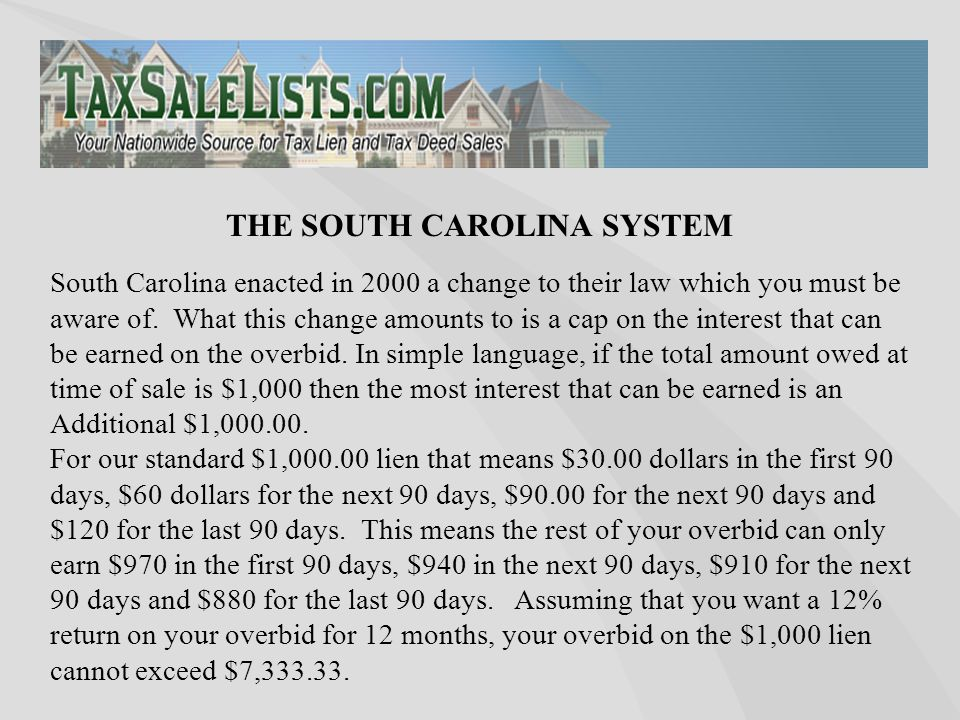 South Carolina enacted in 2000 a change to their law which you must be aware of. What this change amounts to is a cap on the interest that can be earn
